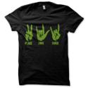 Tee-shirt original rigolo Peace, love & rock